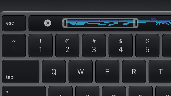 Клавиатура Magic на 13-дюймовом MacBook Pro оснащена физической клавишей Escape, Touch ID для удобного входа и безопасных покупок в Интернете и сенсорной панелью с динамическим и контекстным управлением.