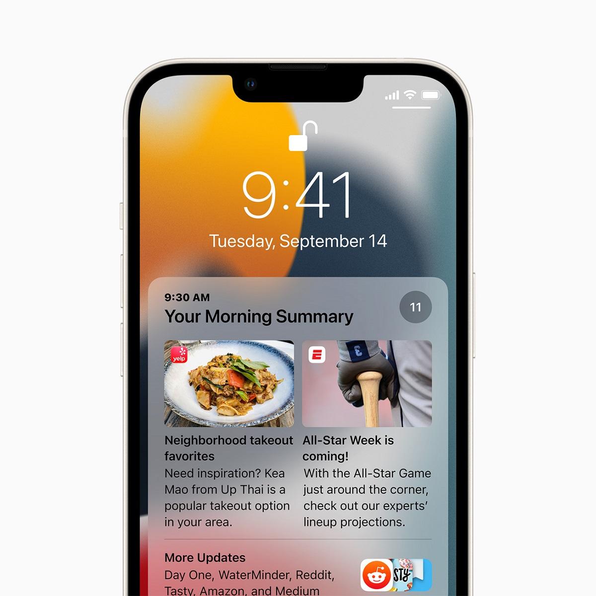 iOS 15 представляет сводку уведомлений, коллекцию уведомлений, доставляемых каждый день в выбранное пользователем время.