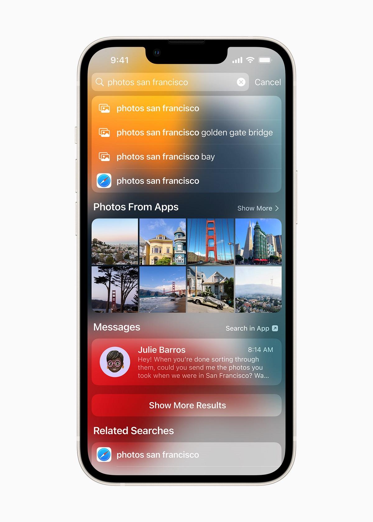 Spotlight теперь ищет фотографии по местоположению, людям, сценам и объектам.